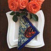 Vibrant Kitenge Napkin Set Of Six, Blue/Orange