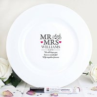 Personalised 'Mr And Mrs' Message Plate