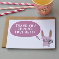 12 Personalised Bunny With A Bow Pink Thank You Cards, Pink