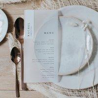 Vellum Transparent Wedding Menu With Name Tag