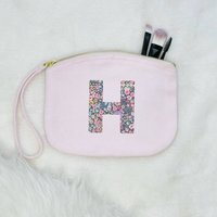 Floral Initial Personalised Make Up Bag