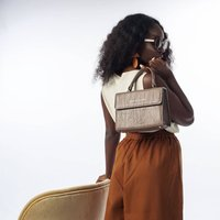 Nude Leather Handbag With Strap