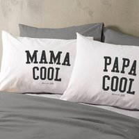 Personalised 'Mama Or Papa Cool' Pillow Case, Purple/Sky Blue/Blue