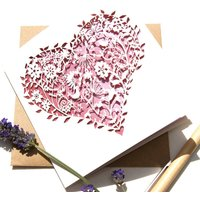 Whimsical Heart Laser Cut Card In Pink