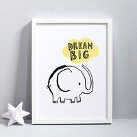 Dream Big Elephant Print, Blue/Pink/Yellow