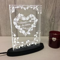 Personalised Floral Heart Light
