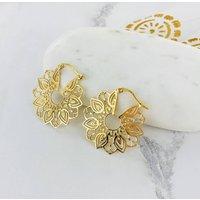 Large Ornate Hoop Earrings