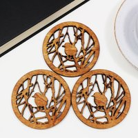 Drinks Coasters With Entangled Design, Set Of Four