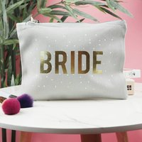 Bride Confetti Wedding Day Make Up Bag, Black/Grey/Pink