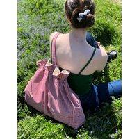 Large Market Tote Red Gingham Beach Bag Organic Fabrics