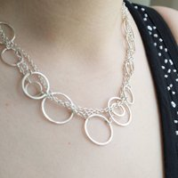 Handmade Silver Ring And Chain Heirloom Necklace, Silver