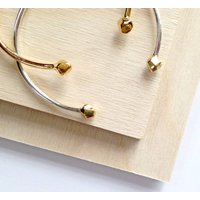 Faceted Gold And Silver Cuff Bangle, Silver