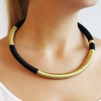 Black And Gold Tribal Necklace, Gold