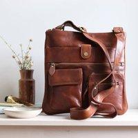 Leather Crossbody Messenger Bag, Tan