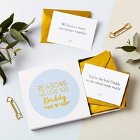 Personalised Foiled Reasons I Love Dad Notes, Blue/Gold/Silver