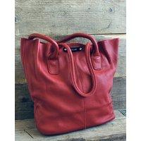 Red Leather Raw Edge Handbag