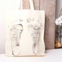 Baby Steps Tote Bag Standing Feet, Grey/Purple/Blue