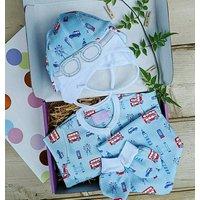 London Blue Baby Grow, Hat, Bib And Mittens Set