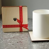 Set Of Four Or Six Wooden Heart Coasters