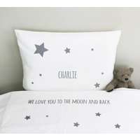 Personalised Childs Bed Linen, Grey/Light Pink/Pink