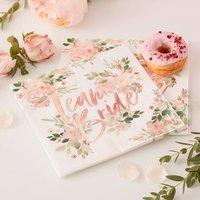 Rose Gold Floral Team Bride Hen Party Napkins