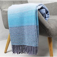 Blue And Purple Merino Wool And Cashmere Throw, Blue