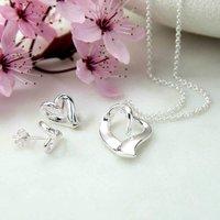 Sterling Silver Ribbon Heart Jewellery Set, Silver