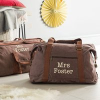 Personalised Canvas His And Her Bags, Brown