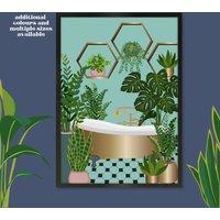 Spotty Bathroom And Plant Print