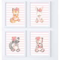 Woodland Animal Nursery Prints For Girls