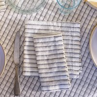 Grey Striped Linen Napkins, Set Of Two