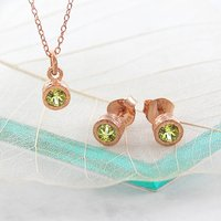Rose Gold Birthstone Peridot Jewellery Gift Set, Gold