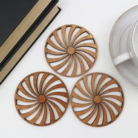 Drinks Coasters With Spiral Design, Set Of Four