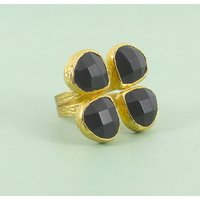 Four Stone Black Onyx Ring