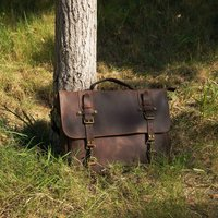 Vintage Look Genuine Leather Messenger Bag