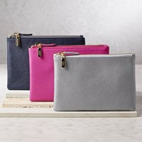 Personalised Leather Clutch Bag Or Cosmetic Purse, Gunmetal/Grey/Gold
