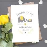 Personalised Grey And Yellow Christening Card