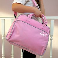 Retro Style Dance Gym Bag, Pale Pink/Pink/Grey
