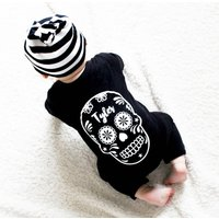 Sugar Skull Baby Romper, White/Silver/Gold