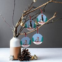 Personalised Penguin Family Bauble Set With Pouch