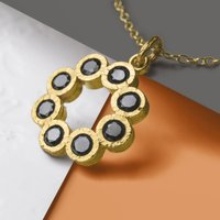 Gold And Black Spinel Rosette Necklace, Gold