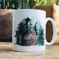 Snowy Woodland Cabin And Forest Christmas Mug