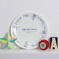 Personalised Rioting Robots Christening Plate