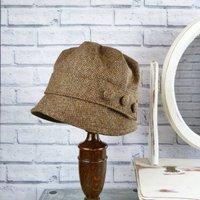 Yorkshire Birdseye Tweed Cloche Hat, Brown/Black/Grey