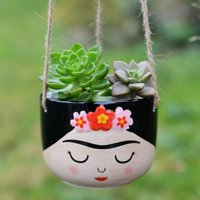 Hand Painted Face Hanging Planter With Choice Of Plant