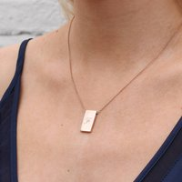 18ct Gold Or Sterling Silver Initial Tablet Necklace, Silver
