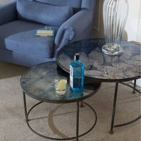 Botanical Blue Glass Top Nest Of Tables, Blue
