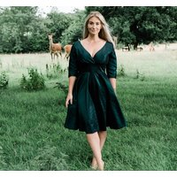 Forest Green Crushed Taffeta Cocktail Dress