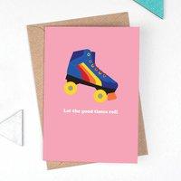 Rainbow Roller Skate Retro Isolation Card