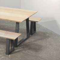 Wood And Steel Dining Table And Bench Set, Grey/White/Black